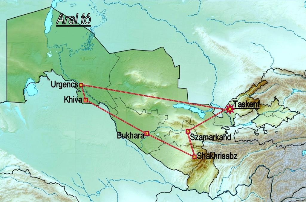 üzbegisztán térkép Körutazás, Körút, Körutak, Társasút, Utazás, Nyaralás, Szakmai